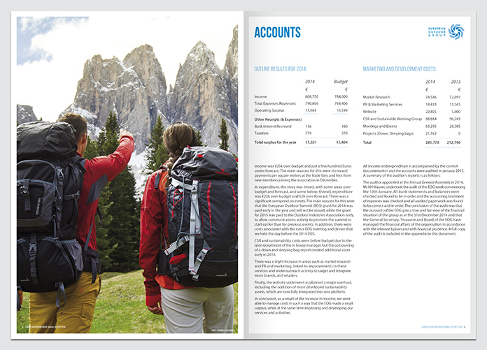 EOG, European Outdoor Group, Annual Report, Annual Report Designer, Annual Report Graphic Designer, ARA, Annual Report & Accounts agency